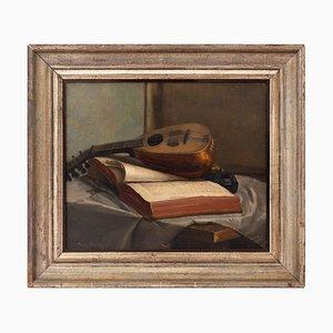 Emile Bussier, Stillleben mit Mandoline & Buch, Öl auf Leinwand