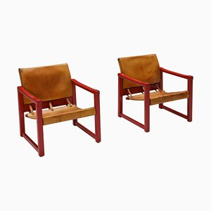 Model Diana Cognac Leather Safari Chairs by Karin Mobring for IKEA, Sweden, Set of 2