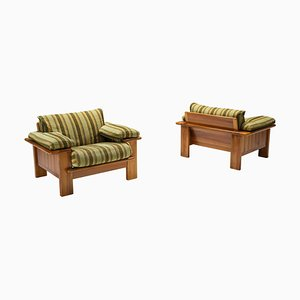 Walnut Lounge Chair in the Style of Scarpa, Set of 2