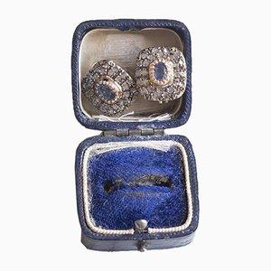 Vintage 14 Karat Goldohrringe mit Saphiren und Diamanten, 1970er, 2er Set
