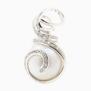 Pendentif Perle de Tahiti Baroque avec Diamants sur Or Blanc 18K