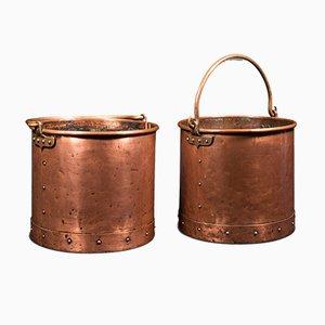 Antike englische Kaminkörbe aus Kupfer, 2er Set