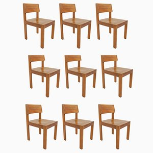 Swiss Architectural Chairs in Massive Wood by Horgen Glarus, 1960s, Set of 9