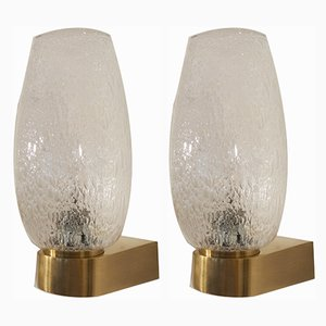 Vintage Brass and Blown Glass Sconces, 1960s, Set of 2