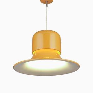 Lámpara colgante Mid-Century en amarillo mostaza de Joe Colombo para Stilnovo, Italy, años 70