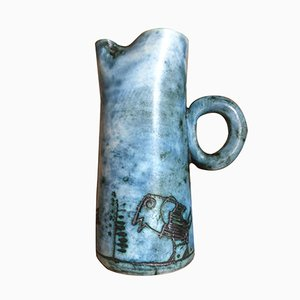 Mid-Century Ceramic Pitcher with Etched Bird and Tree Motif by Jacques Blin, 1950s