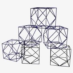 Cubos decorativos de aluminio, años 80. Juego de 6