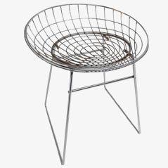 KM05 Chromed Metal Wire Stool by Cees Braakman for Pastoe, 1950s