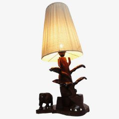 Lámpara de mesa tallada a mano con cobra y elefantes de Ceylon, años 50