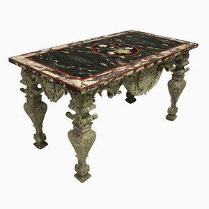 Centrotavola barocco intagliato e dipinto di Pietra Dura, Italia