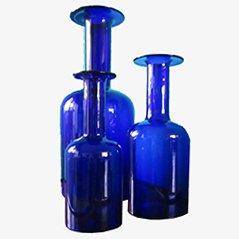 Vases Bleus par Otto Bauer pour Kastrup Holmegaard, Set de 3
