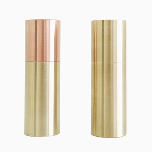 Unfolding Sculpted Candle Holders in Brass & Copper from HIGHDOTS, Set of 2