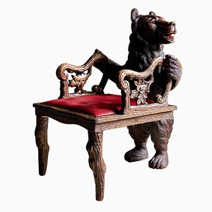 Black Forest Carved Bear Armchair, 1875
