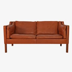 Leather 2-Seater Sofa 2212 by Børge Mogensen, 1960s