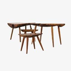 Tavolini fatti a mano creati da un tronco, anni '60, set di 4