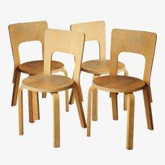 Birkenholz Stühle von Alvar Aalto für Artek, 1960s, 4er Set