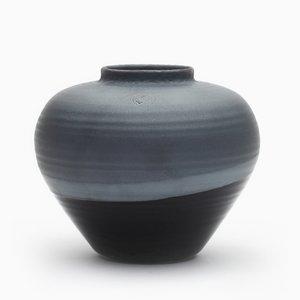 Runde Vase in Schwarz von Asahiyaki