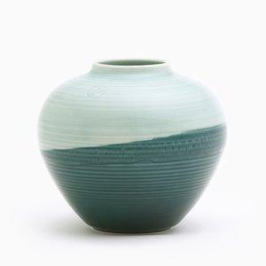 Runde Vase in Grün & Aquamarin von Asahiyaki