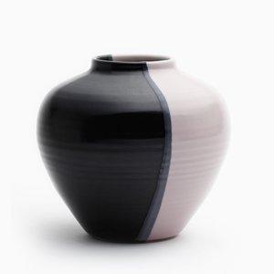 Runde Vase in Rosa & glänzendem Schwarz von Asahiyaki