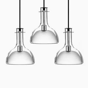 Lampade a sospensione Wolkje M cromate di Fällander Glas per Akaru, set di 3