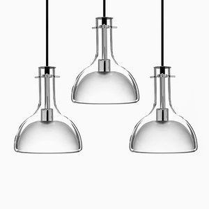 Wolkje M Chrome Pendant Lamps by Fällander Glas for Akaru, Set of 3