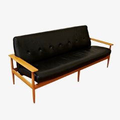 Scandinavian Leather Sofa, 1950s