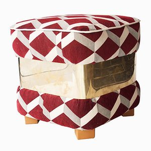 Mid-Century Italian Burgundy and White Pouf