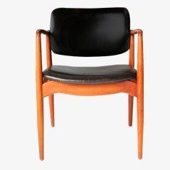 Teak und Leder Captain's Chair von Eric Buck für Ø. Mobler, 1955