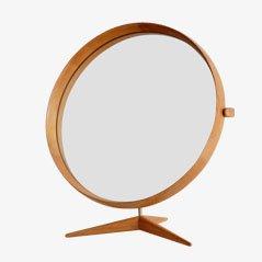 Espejo de mesa con marco de madera de Uno & Osten Kristiansson para Luxus of Sweden, 1960