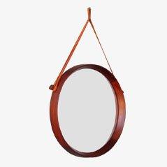 Specchio con cornice in teak di Uno & Osten Kristiansson per Luxus of Sweden, anni '60