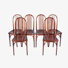 Vintage Beech Chairs by Josef Hoffmann for Thonet, 1910, Set of 6