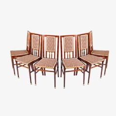 Vintage Art Nouveau Dining Chairs, Set of 6