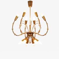 Lámpara de araña Mid-Century de latón de Emil Stejnar para Rupert Nikoll