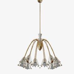 Lámpara de araña Mid-Century grande de latón de Emil Stejnar para Rupert Nikoll