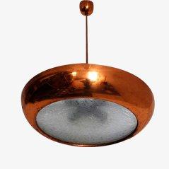 Lampe à Suspension Bauhaus en Cuivre par Josef Hurka pour Napako