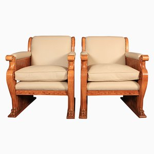 Art Deco Walnut & Leather Armchairs, 1930s, Set of 2