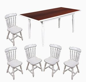Mid-Century Italian White Painted Dining Set with Table & 5 Chairs, 1950s