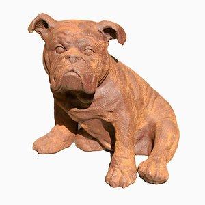 Escultura de bulldog inglés de hierro fundido, años 70