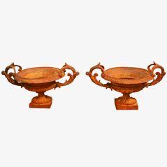 Cache-Pots Vintage en Fonte, Set de 2