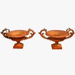 Vintage Cast Iron Planters, Set of 2