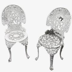 Chaises de Jardin en Aluminium Coulé, Set de 2