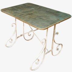 Tavolo da giardino con superficie in zinco