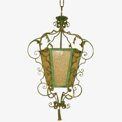 Linterna antigua en verde de vidrio
