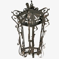 Iron Lamp with Floral Detailing