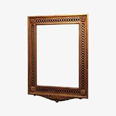 Vintage Vergoldeter und Geschnitzter Holz Spiegel