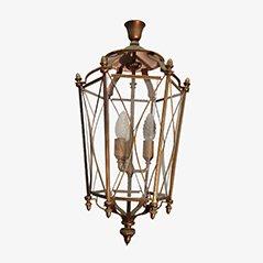Linterna neoclásica de latón y vidrio