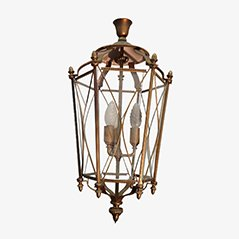 Neoclassical Brass and Glass Lantern