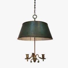 Lámpara de araña francesa de bronce y chapa