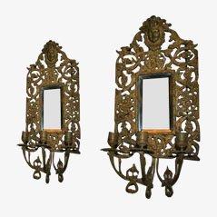 Apliques de pared antiguos reflejados de bronce. Juego de 2