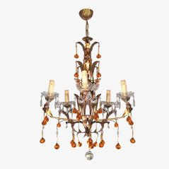 French Iron Chandelier, 1960s